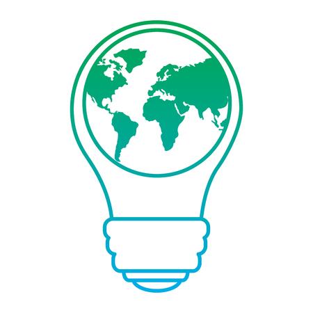 惑星地球アイコンの生態学と省エネエネルギーベクターイラストブルーとグリーンラインを持つ電球は、色を劣化させる