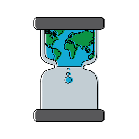 hourglass with earth world time conservation warming vector illustration Reklamní fotografie - 95187108