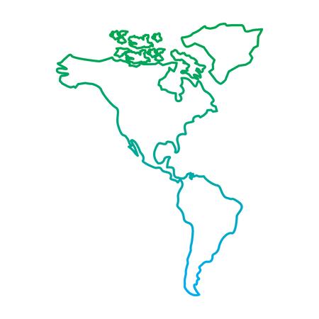 북과 남아메리카지도 대륙 벡터 일러스트 레이 션 파란색과 녹색 선 색 저하