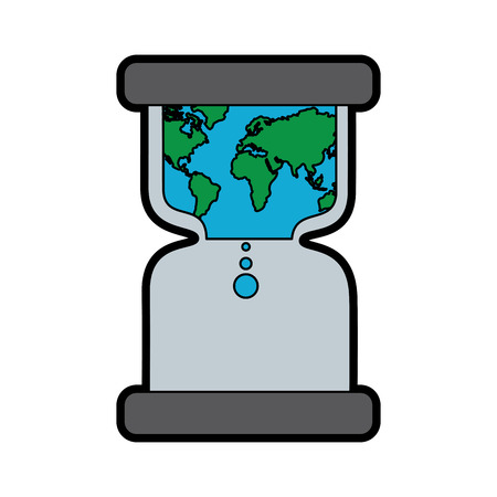hourglass with earth world time conservation warming vector illustration Illustration