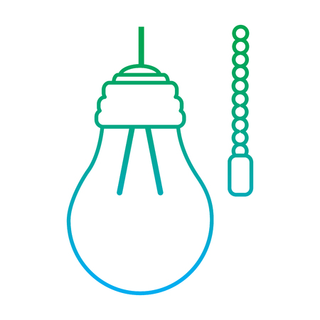 hanging lamp with light bulb with chain electricity vector illustration blue and green line degrade color