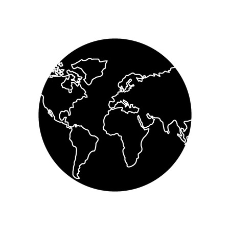 earth planet world globe map icon vector illustration pictogram design Illustration