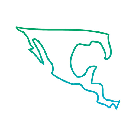 silhouette map of mexico country vector illustration  blue and green line degrade color