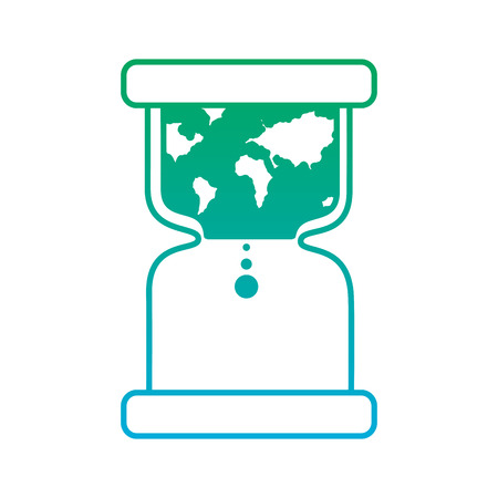 hourglass with earth world time conservation warming vector illustration blue and green line degrade color