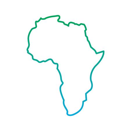 Mapa de África continente silueta sobre un fondo blanco ilustración vectorial línea azul y verde degradar el color