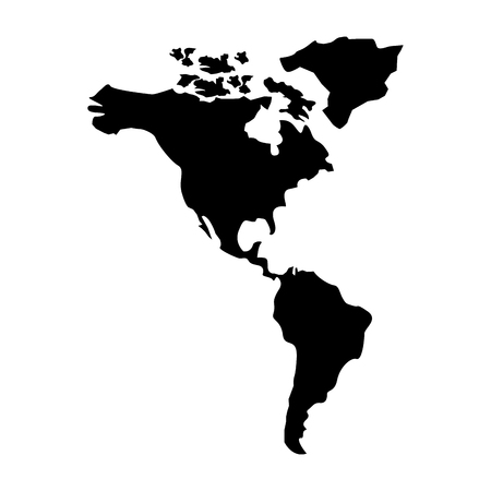 north and south america map continent vector illustration  pictogram design