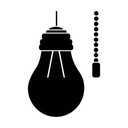 hanging lamp with light bulb with chain electricity vector illustration pictogram design
