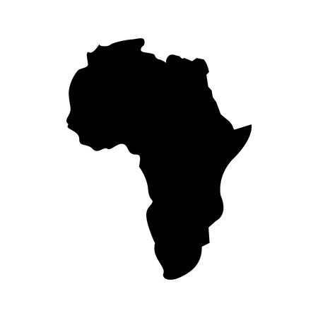 map of africa continent silhouette on a white background vector illustration  pictogram design Stock Illustratie