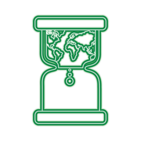 hourglass with earth world time conservation warming vector illustration green line design Illustration