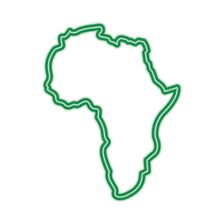 map of africa continent silhouette on a white background vector illustration  green line design