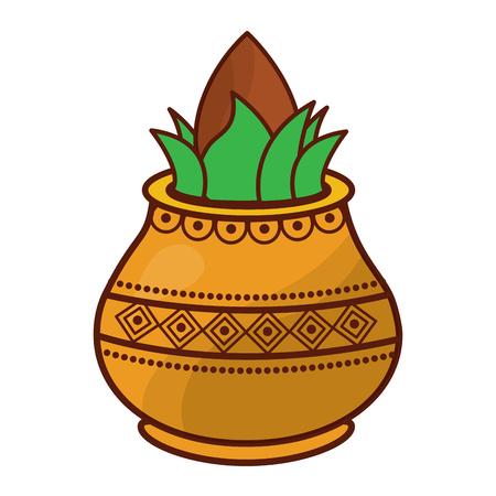 vessel with coconut leaves for hindu ritual purna kalasha vector illustration