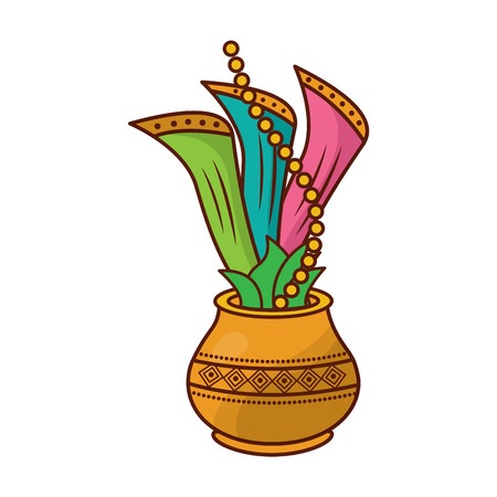 Hindu pot with cloth leaves decoration culture vector illustration