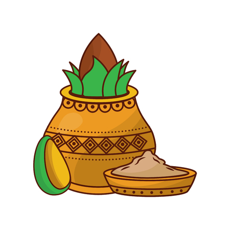 Pot kalash coconut avocado and bowl spice hindu vector illustration 일러스트