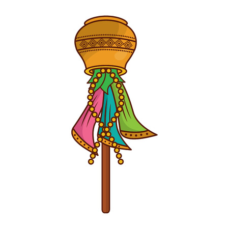 Multicolor sari wood stick cover container traditional hindu vector illustration