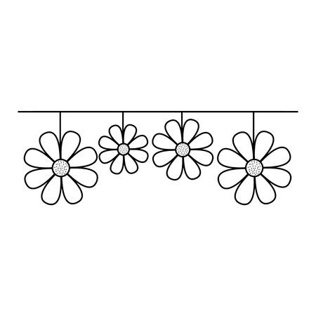 decorative natural neem flower hanging vector illustration outline design