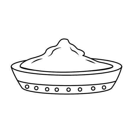 ceramic bowl spice ingredient cooking vector illustration outline design