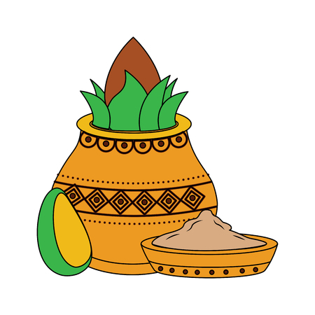 pot kalash coconut avocado and bowl spice hindu vector illustration
