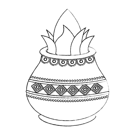 vessel with coconut leaves for hindu ritual purna kalasha vector illustration sketch design image Illustration