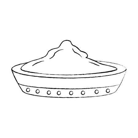 ceramic bowl spice ingredient cooking vector illustration sketch design image Çizim