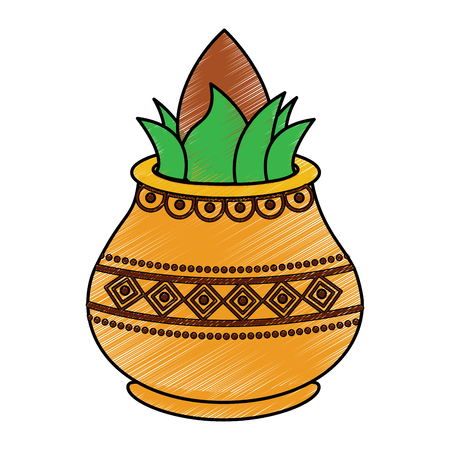 vessel with coconut leaves for hindu ritual purna kalasha vector illustration drawing image