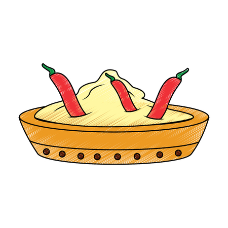 bowl spice chili pepper ingredient condiment vector illustration Illustration