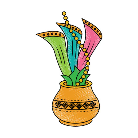 hindu pot with cloth leaves decoration culture vector illustration drawing image