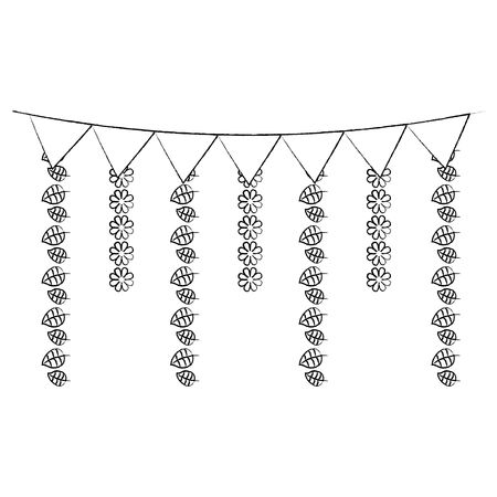 decorative garland flags flower and leaves hanging vector illustration sketch design image