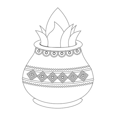 vessel with coconut leaves for hindu ritual purna kalasha vector illustration sticker design image Stock Vector - 95179196