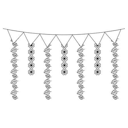 装飾的な花輪フラグ花と葉ぶら下がりベクターイラストステッカーデザイン画像