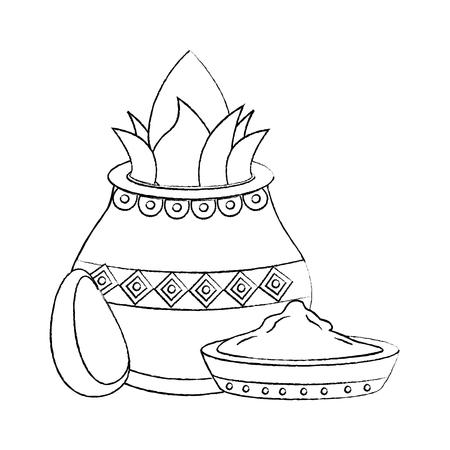 pot kalash coconut avocado and bowl spice hindu vector illustration sketch design image Illustration