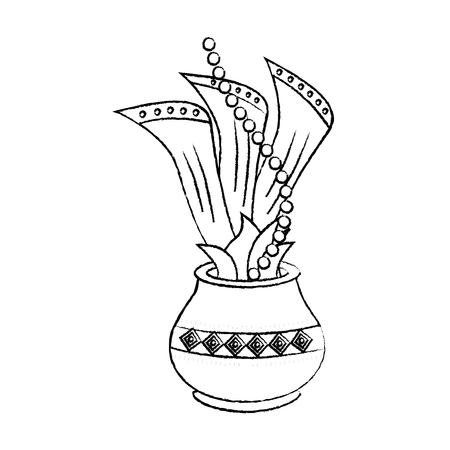hindu pot with cloth leaves decoration culture vector illustration sketch design image