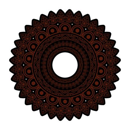 ornamental round floral vintage element mandala ethnic vector illustration brown and black image