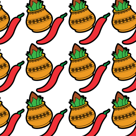 hindu kalash coconut chili pepper wallpaper background vector illustration Ilustração