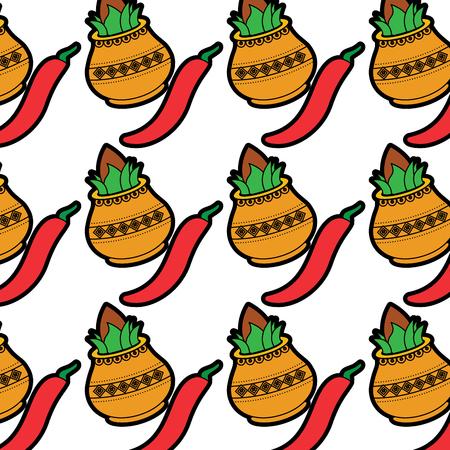hindu kalash coconut chili pepper wallpaper background vector illustration Illustration