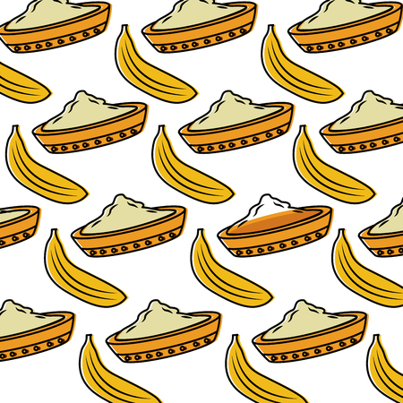 bowl spice and banana fruit hindu food background vector illustration