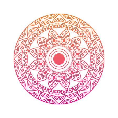 ornamental round floral vintage element mandala ethnic vector illustration red degraded line image