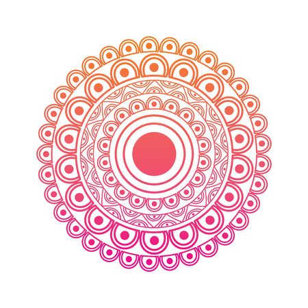 ornamental round floral mandala ethnic abstract decoration vector illustration red degraded line image