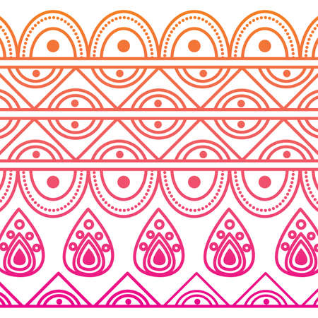 indian ornamental ethnic motifs oriental decoration template vector illustration red degraded line image