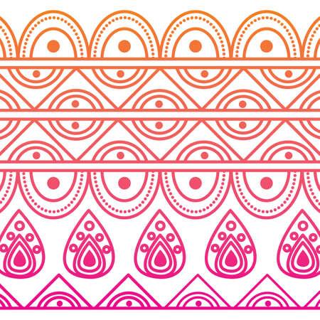 indian ornamental ethnic motifs oriental decoration template vector illustration red degraded line image