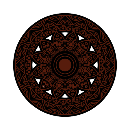 ornamental round floral vintage element mandala ethnic vector illustration brown and black image