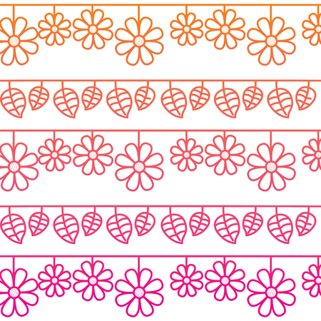 decorative garlands flowers and leaves natural background image vector illustration red degraded line image