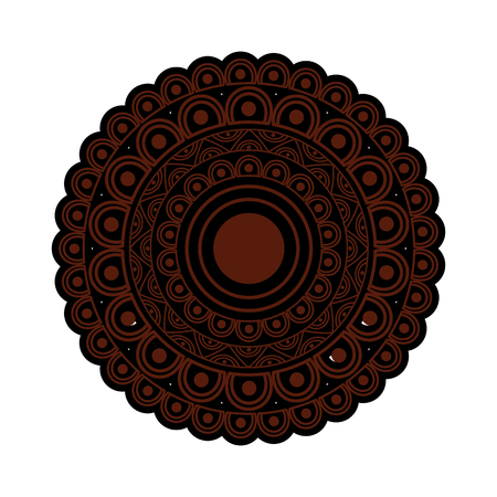 ornamental round floral mandala ethnic abstract decoration vector illustration brown and black image