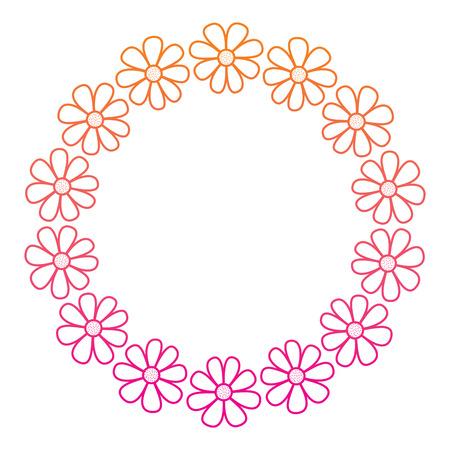 wreath nature flower decoration frame vector illustration red degraded line image