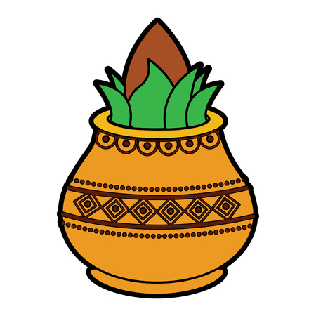 vessel with coconut leaves for hindu ritual purna kalasha vector illustration