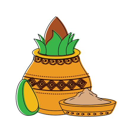 pot kalash coconut avocado and bowl spice hindu vector illustration Stock Vector - 95181209