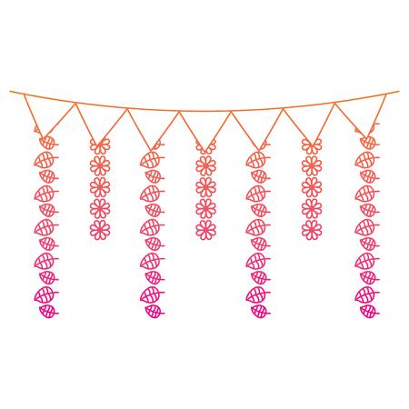 装飾的な花輪は花にフラグを立て、葉ぶら下がりベクトルイラスト赤劣化ライン画像