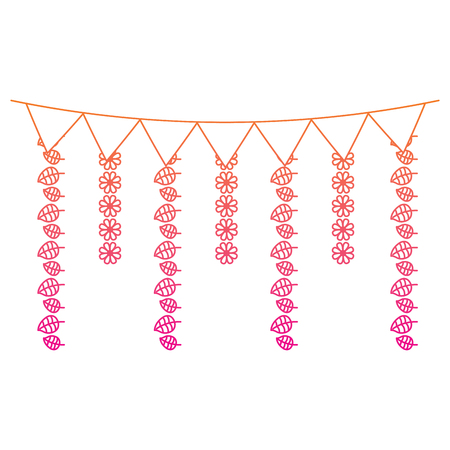 decorative garland flags flower and leaves hanging vector illustration red degraded line image