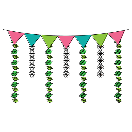 decorative garland flags flower and leaves hanging vector illustration