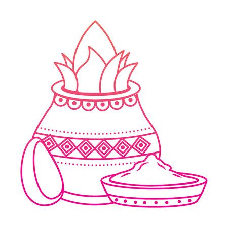 pot kalash coconut avocado and bowl spice hindu vector illustration red degraded line image