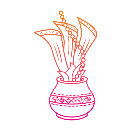 hindu pot with cloth leaves decoration culture vector illustration red degraded line image
